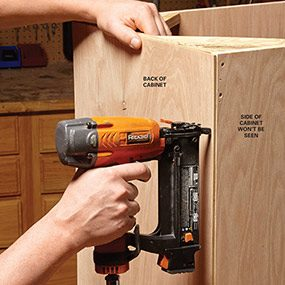The back panel on face frame cabinets doesn't have to be dadoed in if it doesn't show.
