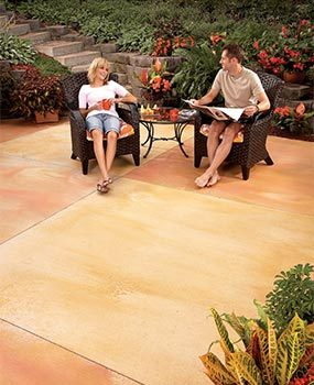 If your concrete patio slab is in good condition, you can stain it.