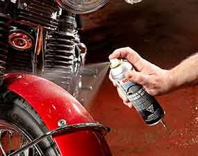 The final motorcycle detailing tip is to spray sealant on the paint.