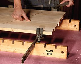 Notched 2x4s to keep clamps from tipping over when clamping up projects.