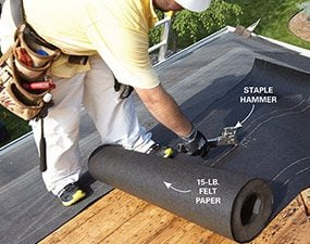 Cover the rest of the roof with felt paper.