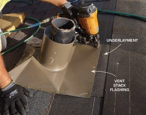 Vent flashing covers the underlayment and the stack
