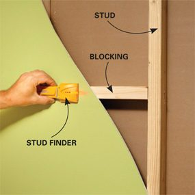 Check the walls and ceiling with a stud finder