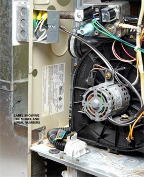 Begin furnace repairs by finding the model, serial number and date of manufacture.