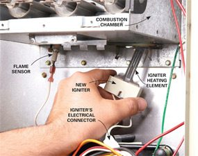 Replacing the igniter is a common furnace repair.