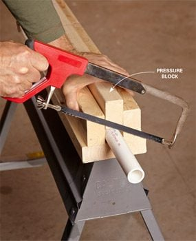 Cut small pieces on the sawhorse with a pressure block