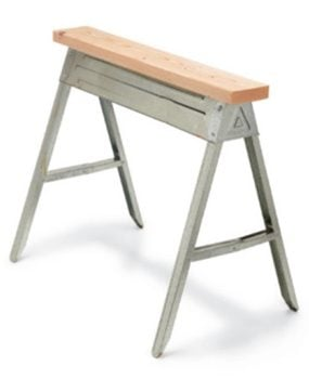 Metal sawhorses are the most popular choice.