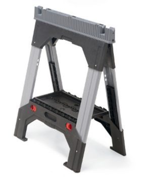 Plastic collapsible sawhorses are available, some with adjustable legs.