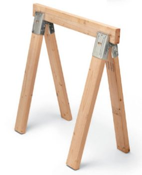 Metal bracket sawhorses are the least expensive choice.