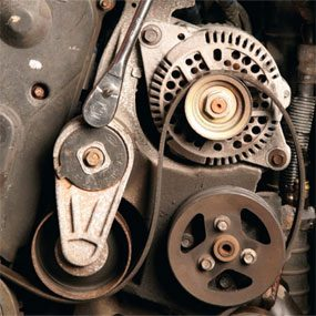Check the tensioner arm for smooth rotation before changing the car serpentine belt.