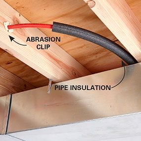 Protect PEX with abrasion clips and insulation.