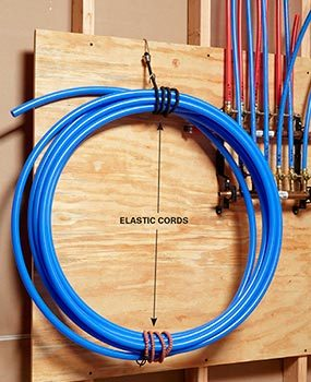 Keep PEX coiled with bungee cords.