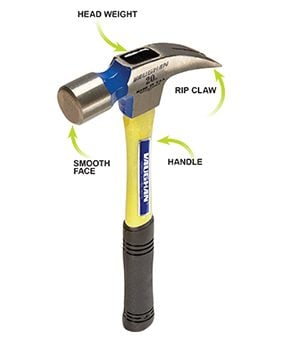 This photo shows the important features of a classic-style hammer.