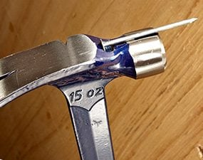 A useful nail starter feature is available on most modern-style hammers.