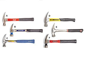 This photo shows a sampling of classic hammers.