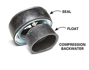Use a compression backwater valve with a cast iron floor drain to stop backups during home emergencies.