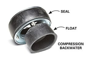 Compression backwater valve