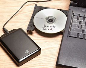 Making a boot disk and a backup when replacing a laptop computer hard drive.