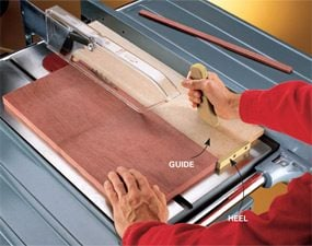 This table saw tip allows you to cut identical thin strips safely.