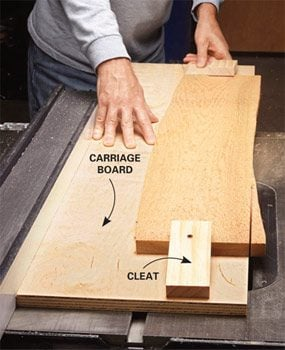 A good technique for straightening a board on a table saw is to attach it to a straight board and then rip it.