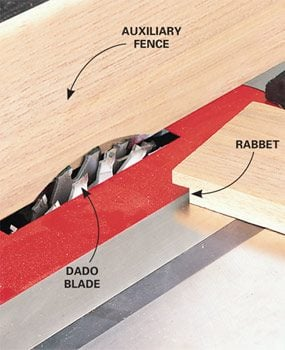 Table saw tips and techniques family handyman cut rabbets with a dado blade table saw greentooth Gallery