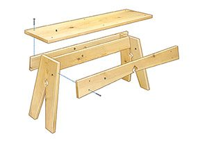Figure A shows an exploded view of a DIY pine bench