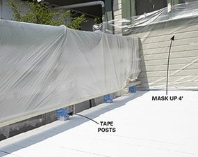 Cover the vertical surfaces and posts around the deck before you start restoring the deck.