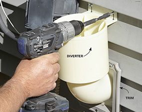 Attach the diverter to finish installing the dryer vent hood.