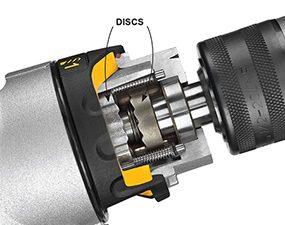 A hammer drill is used for drilling into masonry and concrete.