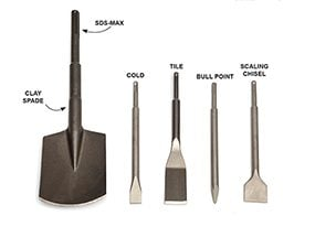 Rotary hammer drills use a variety of concrete drill bits and chisels.