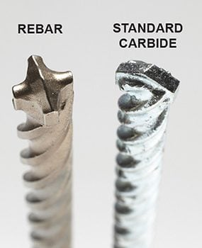 Some specially designed concrete drill bits can drill into concrete with embedded rebar.