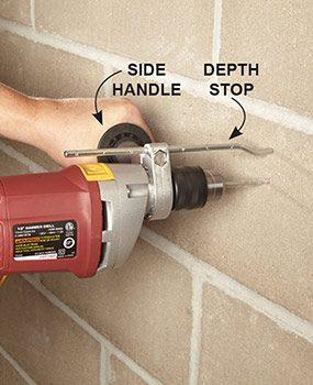 Use a depth stop when drilling into concrete.