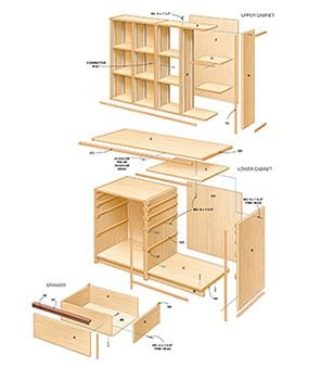 Figure A shows a cutaway drawing of the tool storage cabinets.