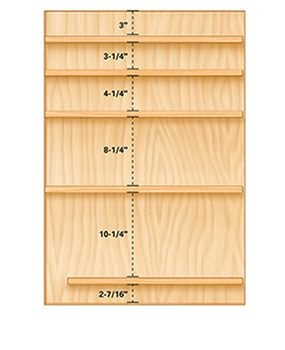 Make a mix of shallow and deep drawers for the tool storage cabinets.