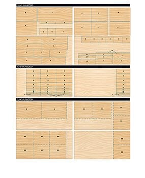 Cut the plywood for the tool storage cabinets in accordance with these cutting diagrams.