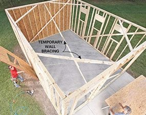 Add sheathing to the frame of the garage.