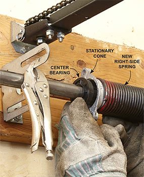 Continue the overhead door repair by connecting the stationary cones to the center bracket.