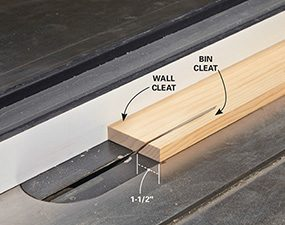 Cut the wall and bin cleats for the garage shelving, following the dimensions in the plan.