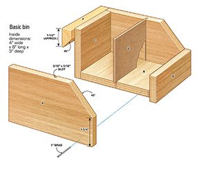 The basic bin is the key to the garage shelving plans shown here.