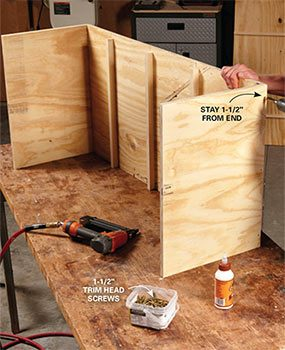 Fasten the sides of the DIY garage storage carcass to the top and bottom.