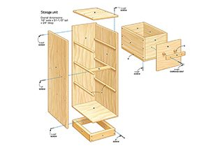 Figure A shows an exploded view of the DIY garage storage unit.