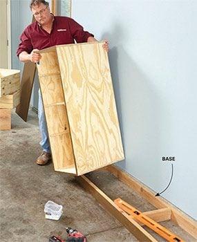 If you make multiple units of the DIY garage storage drawers, set them on a level base.