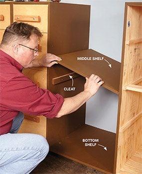 Add shelves, if you wish, between the DIY garage storage units.