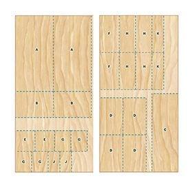 Follow this cutting diagram for the DIY garage storage unit.