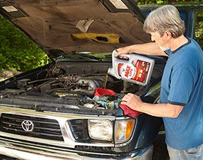 What does high-mileage synthetic motor oil do? It helps older engines run cleaner.