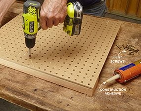 Use pegboard to space and stabilize the legs of the classic DIY workbench