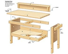 This DIY workbench plan has a 5-ft. wide by 28-in. deep work surface.