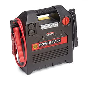 Avoid using an emergency portable power pack for jump-starting a car.