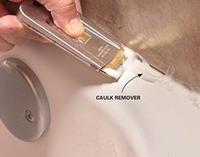 Use caulk remover to get the last of the old caulk out before you begin recaulking the shower.