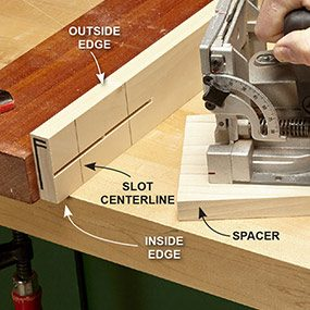 Cut biscuit slots as indicated in the end table plans.